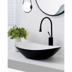 Lavabo thuyền trắng đen